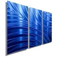 Statements2000 Blue Modern Metal Wall Art Panels Painting by Jon Allen - Blue Synchronicity 3P