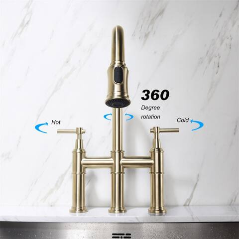 Brass Pull Down Bridge Faucet,Gold