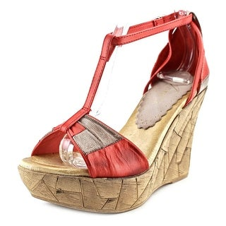 Azura Immix-RM Women Open Toe Leather Red Wedge Sandal
