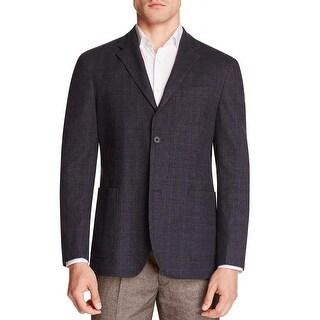 Hardy Amies Mens Heddon Slim Fit Glen Plaid Sportcoat 40 Short 40S Navy Blazer