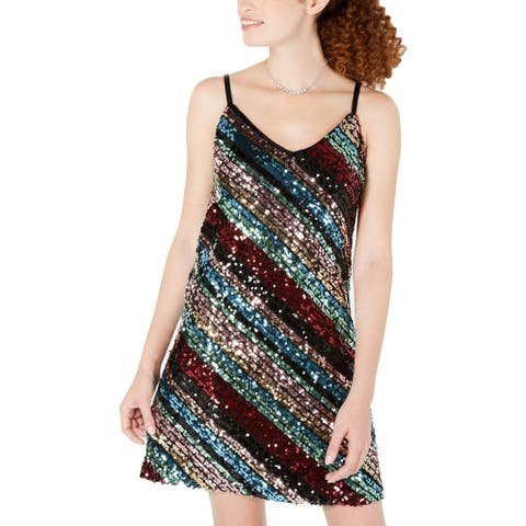 As U Wish Womens Juniors Party Dress Sequined Cocktail