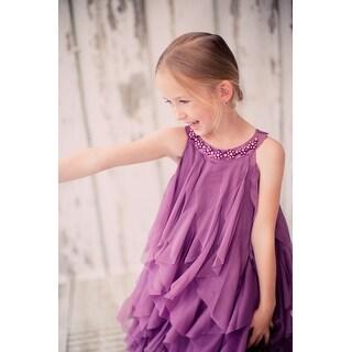 Kids Dream Girls Eggplant A-Line Swirl Mesh Ruffle Flower Girl Dress 8-14