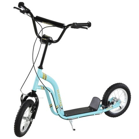 Aosom Teens Youth Scooter Ride On Toy with Adjustable Handlebar, Dual Brakes, and Inflatable Wheels For Kids 5+
