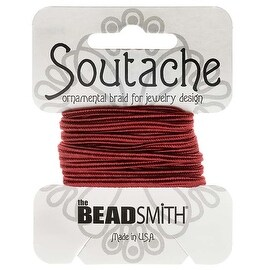 BeadSmith Soutache Braided Cord 3mm Wide - Rose Pink (3 Yard Card)