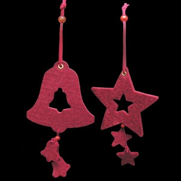 "Club Pack of 18 Burgundy Red Bell and Star ""Felt Ornaments"