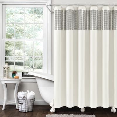 Lush Decor Stitched Woven Stripe Yarn Dyed Cotton Shower Curtain