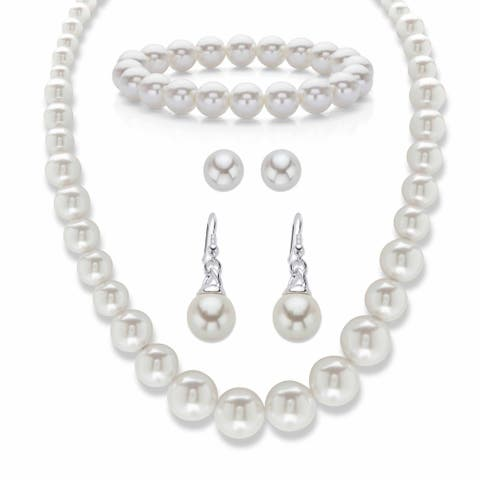 Silvertone Simulated Pearl Necklace Bracelet and Earring Set