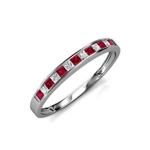 TriJewels Ruby Diamond 13 Stone Channel Set Wedding Band 14K Gold