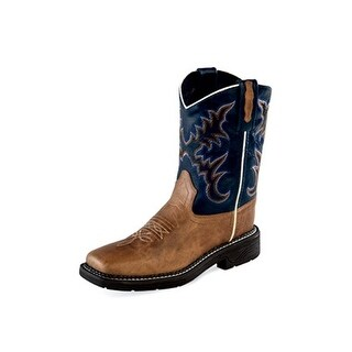 Old West Cowboy Boot Boy Girl Reinforced Corded Square Tan Fry