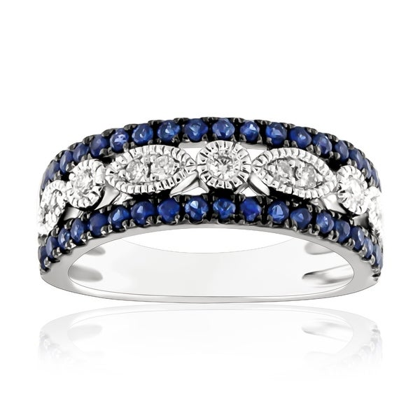 0.99Ct September Birthstone Blue Sapphire & Natural Diamond Designer Wedding Band - White G-H/Blue Sapphire