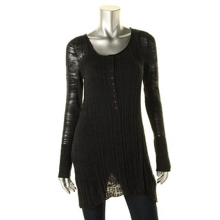 Free People Womens Ribbed Scoop Neck Henley Sweater - L