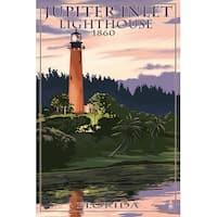 FL - Jupiter Inlet Lighthouse - LP Artwork (100% Cotton Towel Absorbent)