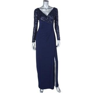 Lauren Ralph Lauren Womens Lylina Evening Dress Embellished Side Slit