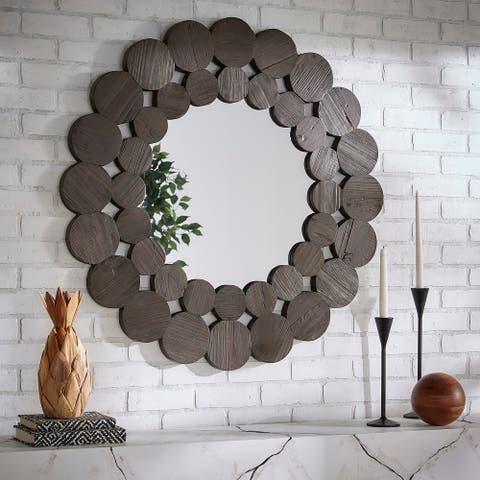 Joshua Dark Brown Reclaimed Wood Round Wall Mirror by iNSPIRE Q Artisan