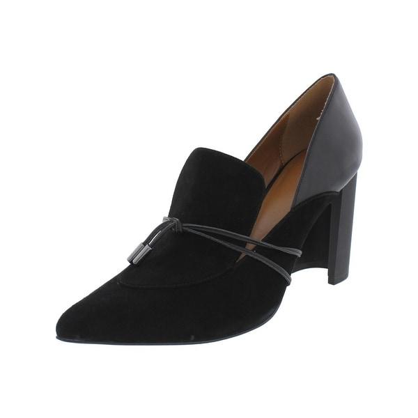 H Halston Womens Estelle Loafer Heels Pointed Toe Dress