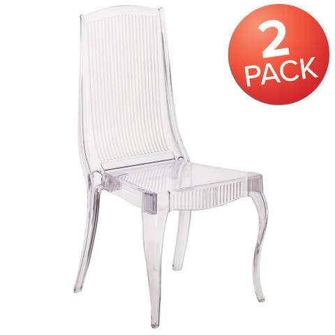 2Pk Crystal Ice Stacking Chair - Full Back Vertical Line Design - Event Chairs