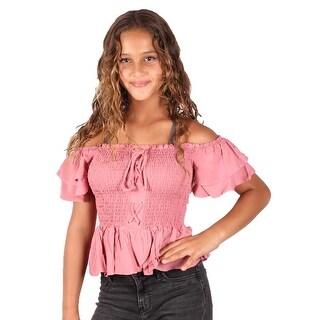 Lori & Jane Girls Mauve Off Shoulder Ruffle Short Sleeve Elastic Top