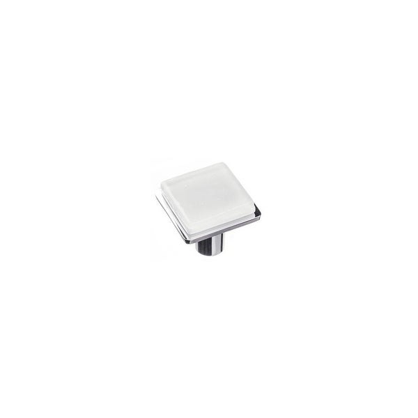 Sietto K-1300 Geometric 1-1/4 Inch Square Cabinet Knob with White Glass