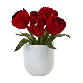 Nearly Natural Tulips with White Glass Vase