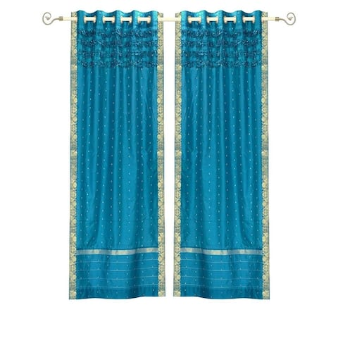 Turquoise Hand Crafted Grommet Top Sheer Sari Curtain Panel -Piece
