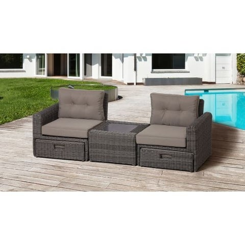 Miseno MPF200OTBS Cyprus Outdoor Bistro Set with Aluminum Frame, Half Round Wicker and Sunbrella Fabric Cushions