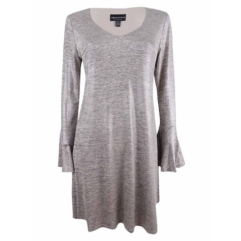 Connected Women's Bell-Sleeve Metallic Shift Dress - Taupe/Silver
