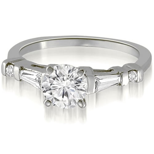 1.00 cttw. 14K White Gold Round And Tapered Baguette Diamond Engagement Ring