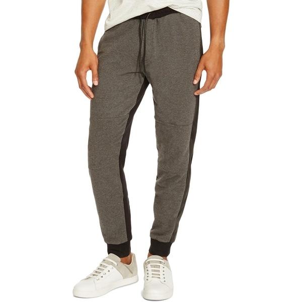ColourBlock Men's Slim Fit Leather Trimmed Sweatpant joggers CV1ToKRn