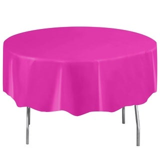Neon Pink Plastic Table Cover - Round