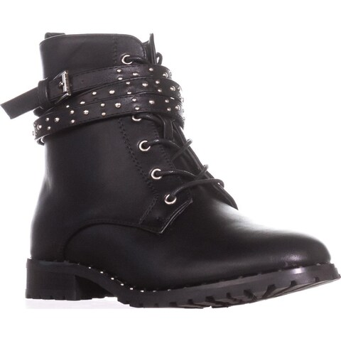 Wanted Spirals Buckle Strap Lace-Up Ankle Booties, Black