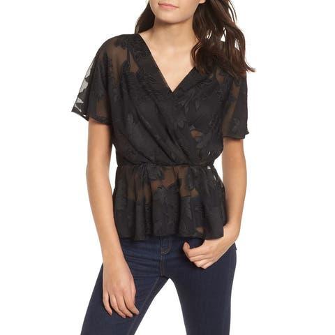 Wayf Womens Top Black Size XXL Surplice Neck Mesh Lace Sheer Floral