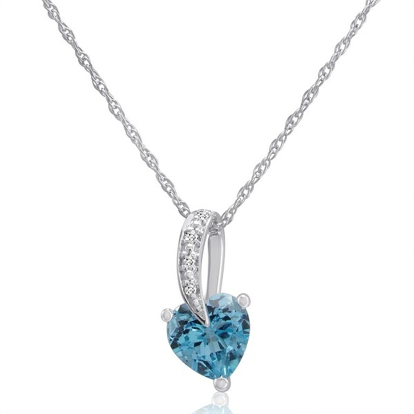 Amanda Rose Swiss Blue Topaz Heart and Diamond Pendant-Necklace in Sterling Silver