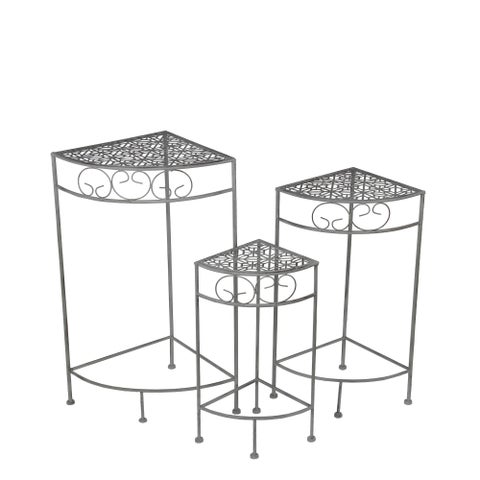 3 Piece Black Metal Nesting Corner Plant Stand Set Filigree Tops