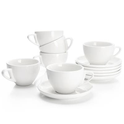 Sweese Porcelain Cappuccino Cups with Saucers - 6 Ounce - Set of 6