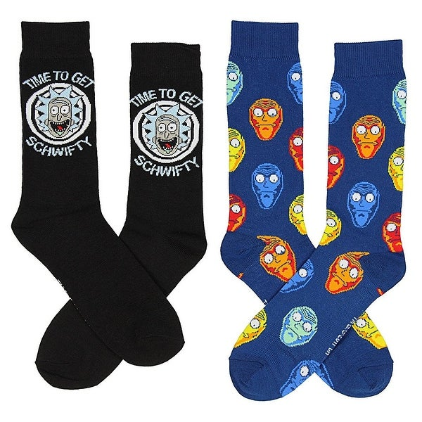 Rick and Morty Men's Crew Socks, Time To Get Schwifty 2-Pack - Black