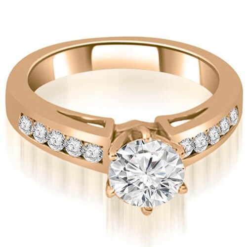 1.05 cttw. 14K Rose Gold Channel Set Round Cut Diamond Engagement Ring