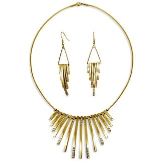 Bling Jewelry Gold Plated Stainless Steel Crystal Fringe Necklace Earring Set