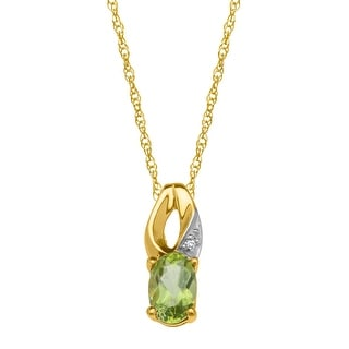 1/2 ct Natural Peridot Pendant with Diamond in 10K Gold - Green