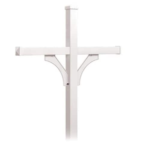 Salsbury Industries 4874WHT Deluxe Mailbox Post 2 Sided for 4 Mailboxes In-Ground Mounted - White