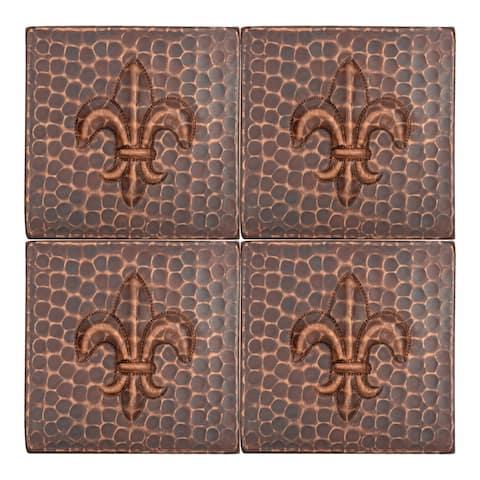 Premier Copper Products T4DBF_PKG4 4-inch x 4-inch Hammered Copper Fleur De Lis Tile - Quantity 4