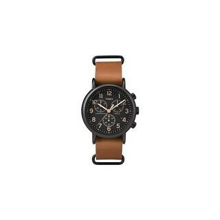 Timex Weekender Chrono Oversized Watch - Black Dial/Brown Strap Weekender Chrono Brown Strap Black Dial Watch