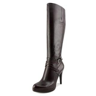Nine West Romy Round Toe Leather Mid Calf Boot