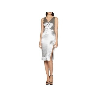 Fame And Partners Womens Cocktail Dress Metallic V-Neck (2 options available)