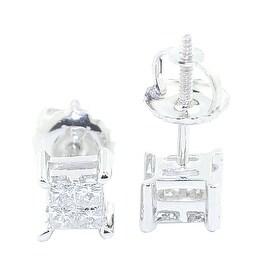 0.33cttw Princess Cut Diamond Earrings Studs Screw Back 10K White Gold 5.5mm Wide By MidwestJewellery