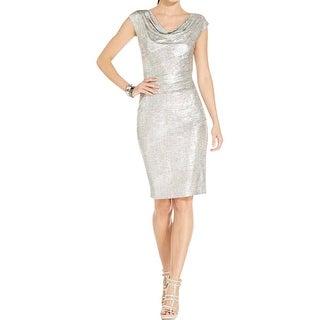 Vince Camuto Womens Cocktail Dress Metallic Drapey