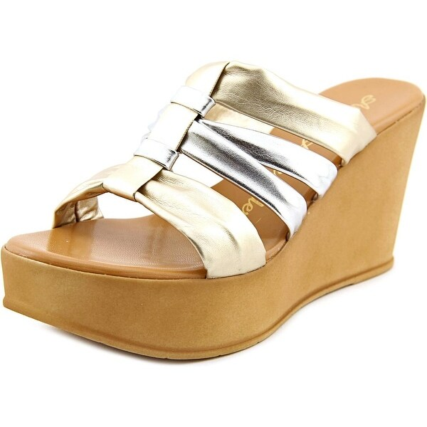 Athena Alexander Samba Women Open Toe Synthetic Gold Platform Sandal