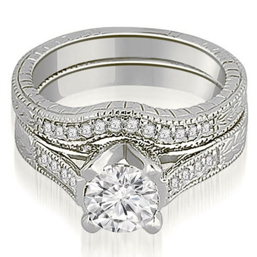 1.25 cttw. 14K White Gold Antique Cathedral Round Cut Diamond Engagement Set
