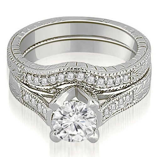 1.50 cttw. 14K White Gold Antique Cathedral Round Cut Diamond Engagement Set