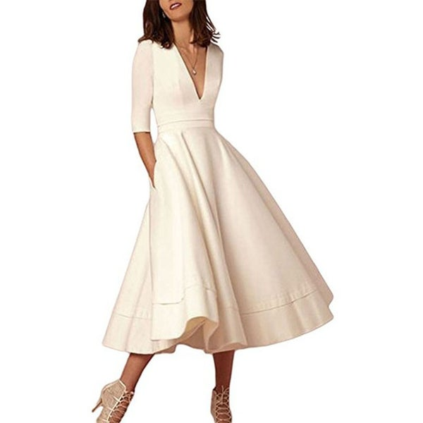 Women's Elegant Half Sleeve Deep V Neck Vintage Cocktail Tunic Swing Dress