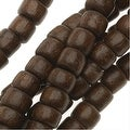 Pukalet Wood Beads, Dyed Round 4x5mm, 100 Pieces, Robles Brown Lacquer - Thumbnail 0